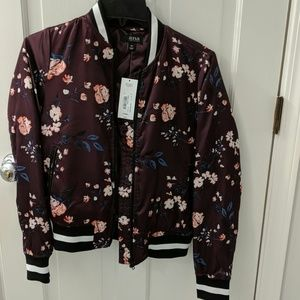 a.n.a. satin bomber jacket.Wine colored backgroun